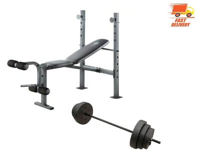 Gold Gym Bench XR 6.1 with Bar & 100 lb Weights Set Golds Weightlifting Benches