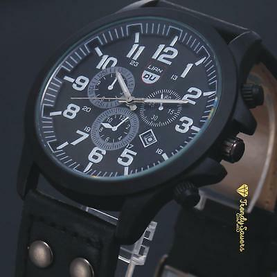 Men's Quality Leather Stainless Steel Military Calendar Date Quartz Wrist Watch