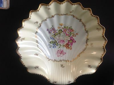 Antique Hand Painted Large Centerpiece Porcelain Shell Made In France Stunning!