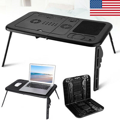 Portable Adjustable Foldable Laptop Desk Table with Cooling Fan Stand Bed Black