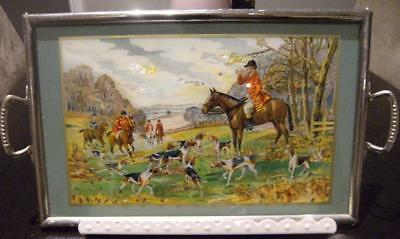 Vintage Art Deco Victorian metal glass hand painted serving tray.HUNTING SCENE
