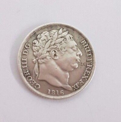 Rare Collectable Milled Silver George III 1816 Sixpence