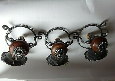 3 Antique  Metal & Dark Wood Light - Oil Lamp Form Wall Sconce With Pull String