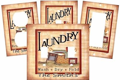Personalized Vintage Primitive Country Laundry Room Light Switch Plate Cover