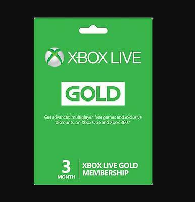 e Codes Xbox Live 3 Month Membership Subscription