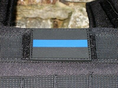 Klettpatch Rubberpatch ca. 6 x 4cm thin blue line Deutschland Polizei