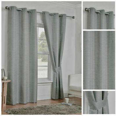 Ready Made Light Grey Light Reducing Curtains Thermal Ring Top Eyelet Tie Backs