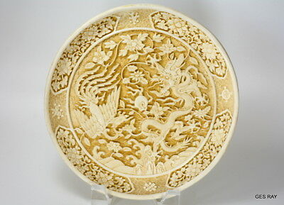 Old Signed Marked Carved CINNABAR LACQUER Dragon PHOENIX Decorative Plate