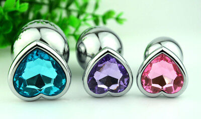 Jewelled Plug Party Role Play Butt Heart Shaped Stainless Steel Crystal Plug JO