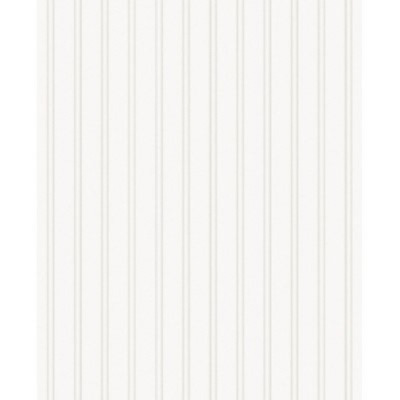 Paintable Prepasted Beadboard Stripes Texture Wallpaper Graham and Brown  White