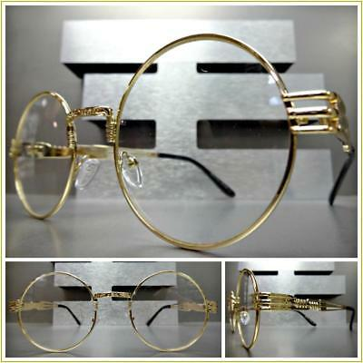 ce9d35ca4ba Men or Women VINTAGE RETRO Style Clear Lens EYE GLASSES Round Gold Fashion  Frame