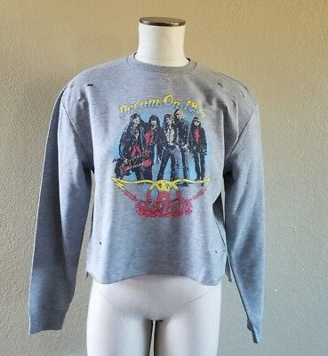 Aerosmith Dream On 1973 baggy sweatshirt womens size 8 NWT new gray distressed