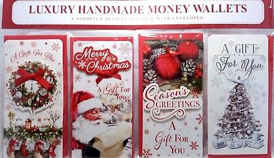 Christmas Money Wallets Pack Of 4 Luxury Handmade Traditional Designs Bow Detail