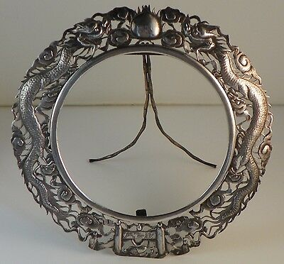 Chinese Export Silver Picture Frame.  Period Dragons and Pearl.  Luen Wo. c.1890