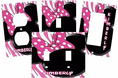 Personalized Minnie Mouse Ears Pink Zebra Polka Dot Light Switch