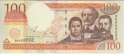 DOMINICAN REPUBLIC BANKNOTE P171a 100 PESOS, 2001 ONE YEAR TYPE  PREFIX BK, UNC