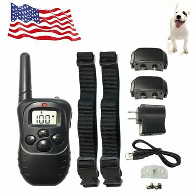 Electric LCD 100LV 2 Dogs Training Collar Rechargeable Shock Anti Bark Collar US