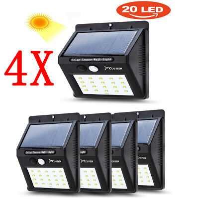 4X20 LED Solar Power PIR Motion Sensor Wall Light Outdoor Garden Waterproof Lamp