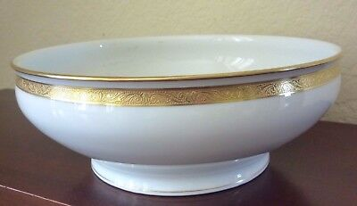 Haviland Limoges Gold Wedding Ring Bowl Large Salad Server Antique Porcelain