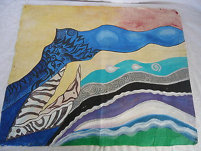 TAPA ART #1 Pacific Islands AWESOME Detailed Colourful TREATED BARK ART #1776