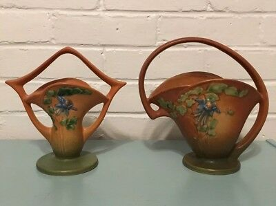 Roseville Pottery Columbine 365-7 And 366-8. Lot of 2. Antique Circa 1941.