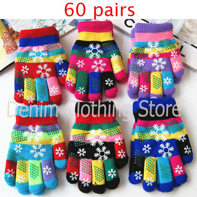60pairs Children Boy Girl kid Snowflake Magic Winter Gloves Wholesale Lot Xmas