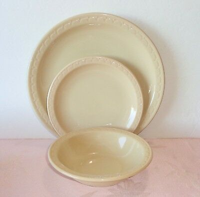 Syracuse China Econo-Rim 2 Pcs Plate Bowl TAN Beige Light Brown Restaurant Ware