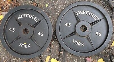 Hercules By York Barbell 2 Pair 45 Lb Weight Plates 2x45 Lbs Olympic