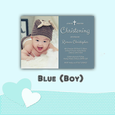 Personalised Christening Baptism Invitations with Photo | Boy Girl & Envelopes