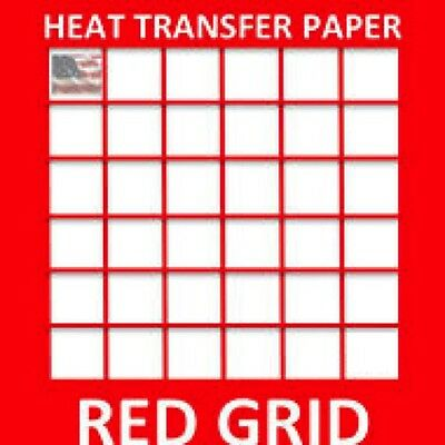 Red Grid Line Light Colors Ink Jet Heat Iron On Transfer Paper 8.5 X 11 -1 Sheet