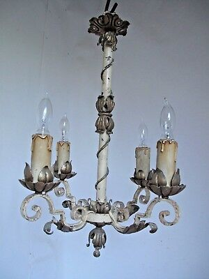 Antique Spanish Style Wrought Iron Chandelier 4 Arms with Wood Candle Covers