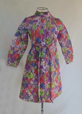 Vintage, Retro, Girls Quilted Nylon Dressing Gown - Size 10, 12