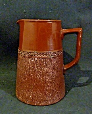 Vintage 1 pt RED / BROWN, LEADLESS GLAZE WATER JUG