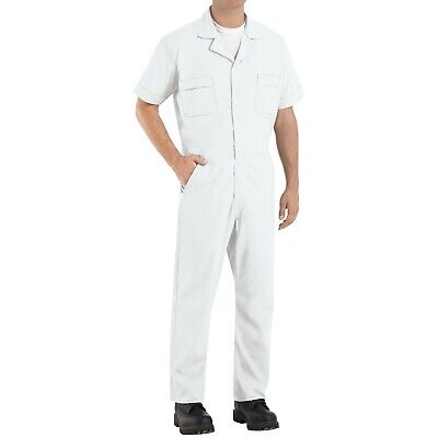 Red Kap Speedsuit White Short Sleeve  Men's Zip-Front Work Coverall Action Back