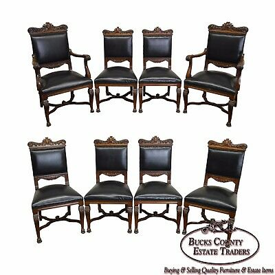 Antique Set of 8 Solid Walnut Carved Renaissance Style Dining Chairs