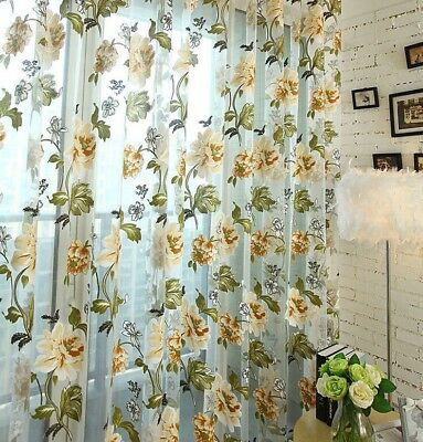 Window Sheer Curtain Clear Organza Floral Tulle Fresh Burnout Voile Door Drape