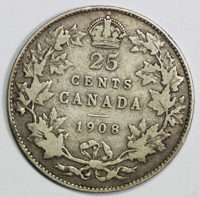 Canada 1908 Scarce Silver Twenty Five Cents VG/F