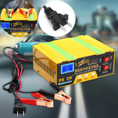 12/24v LED Display Car Motorcycle Smart Battery Charger Intelligent Pulse Repair