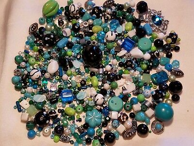 LOOSE MIXED BEAD LOT Jewelry Making.Crafts Colors of Turquoise,Green, White, Blk