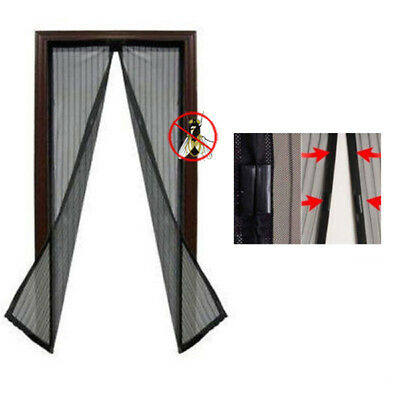Magnetic Door Mesh Black Fly Screen Magic Magna Mosquito Bug Curtain