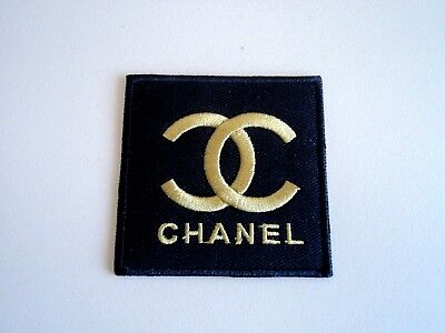 1x Gold Chanel Logo Patch Embroider Cloth Patches Applique Badge Iron Sew On