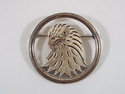 Vintage Sterling Silver Eagle Head In Round Frame Pin 1 9/16 Wide