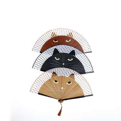Japanese Silk Bamboo Hand Fan Cartoon Cat Cosplay Dance Folding Fan Party  R