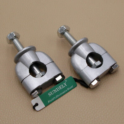 """2Pcs 7/8"""" 22mm Motorbike Motorcycle Handle Bar Risers Clamp Mount Silver"""