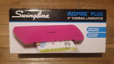 """Swingline Inspire Plus Thermal Pink Laminator with 5 Pouches - Laminates 9"""""""
