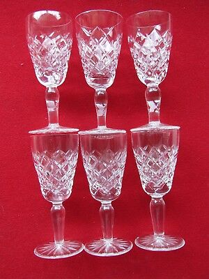 6  Crystal Diamond Cut Sherry Liquor  Port Wine  Glasses