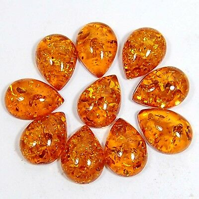 Excellent Baltic Amber Pear Shape 18.12 Cts Loose Cab In A Wholesale Lot 10 Pc