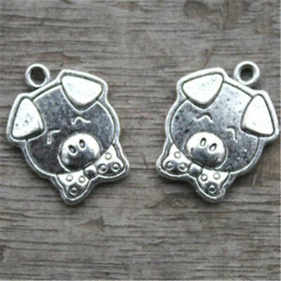 15pc Pig Charms Silver Tone Too Cute Pig with Bowtie charm pendant 16x20mm