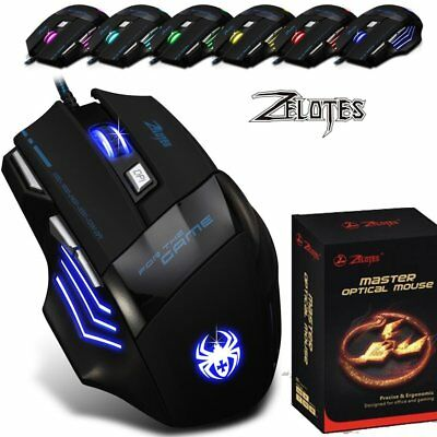 IEGEEK ZELOTES Gaming Maus 7200 DPI 7 Tasten USB für Pro Gamer LED Mouse Kabel