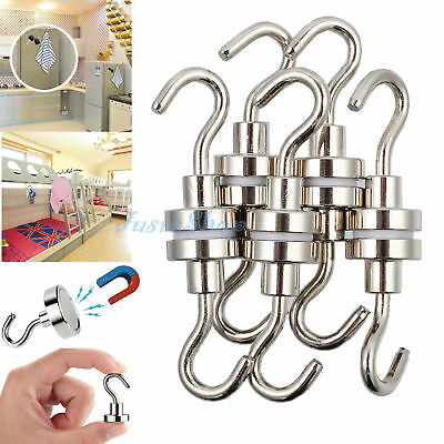 10pcs Powerful Magnetic Hooks Neodymium Hold 5.5kg Strong Magnet Home Hanger AU